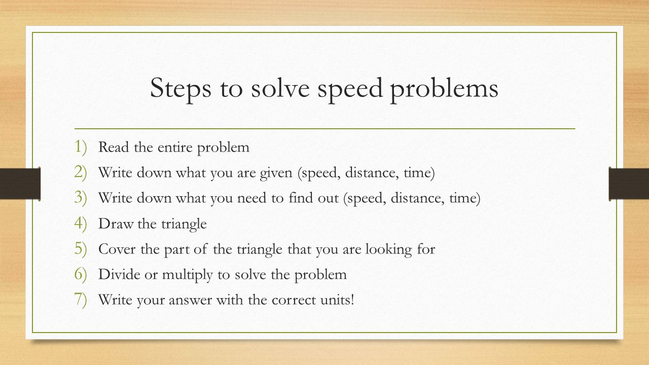 Steps to solve speed problems