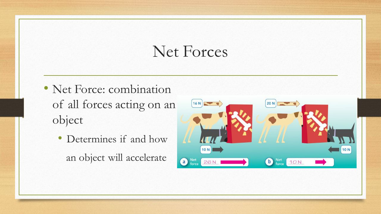Net Forces Net Force: combination of all forces acting on an object