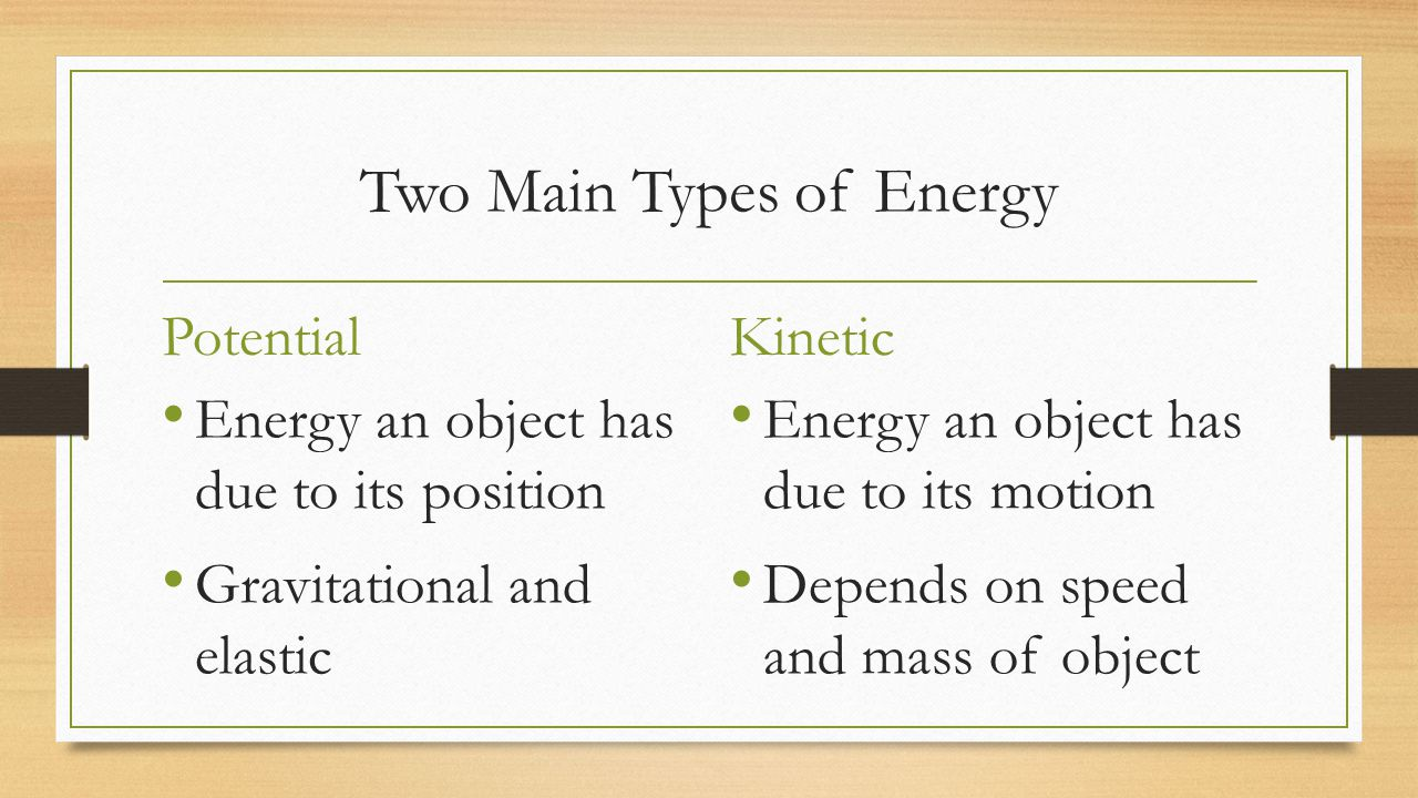Two Main Types of Energy