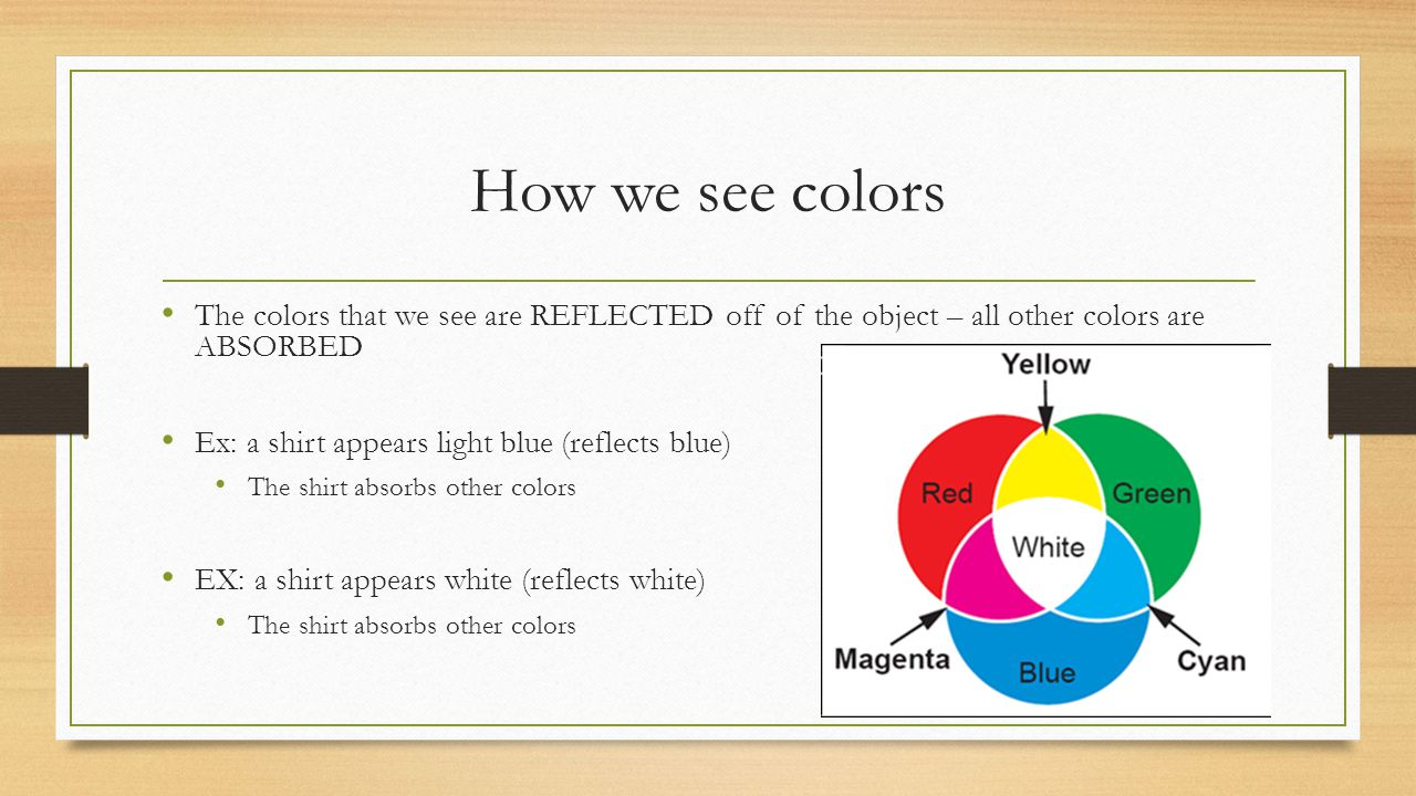 How we see colors The colors that we see are REFLECTED off of the object – all other colors are ABSORBED.