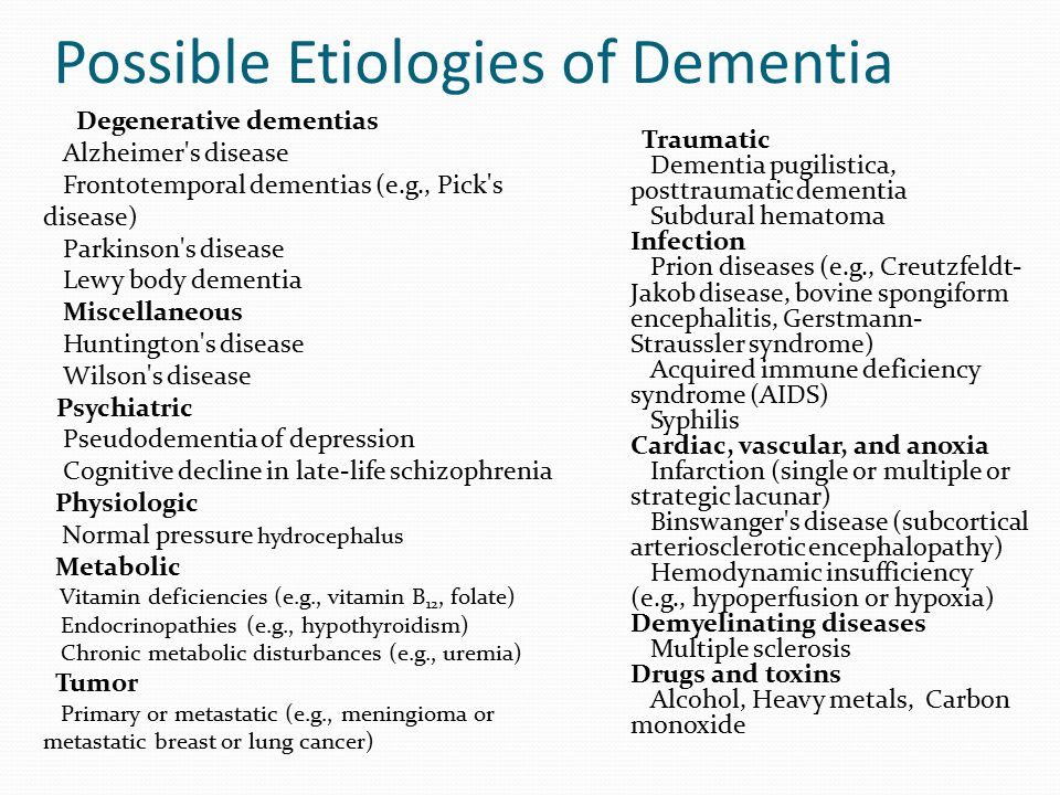 Possible Etiologies of Dementia