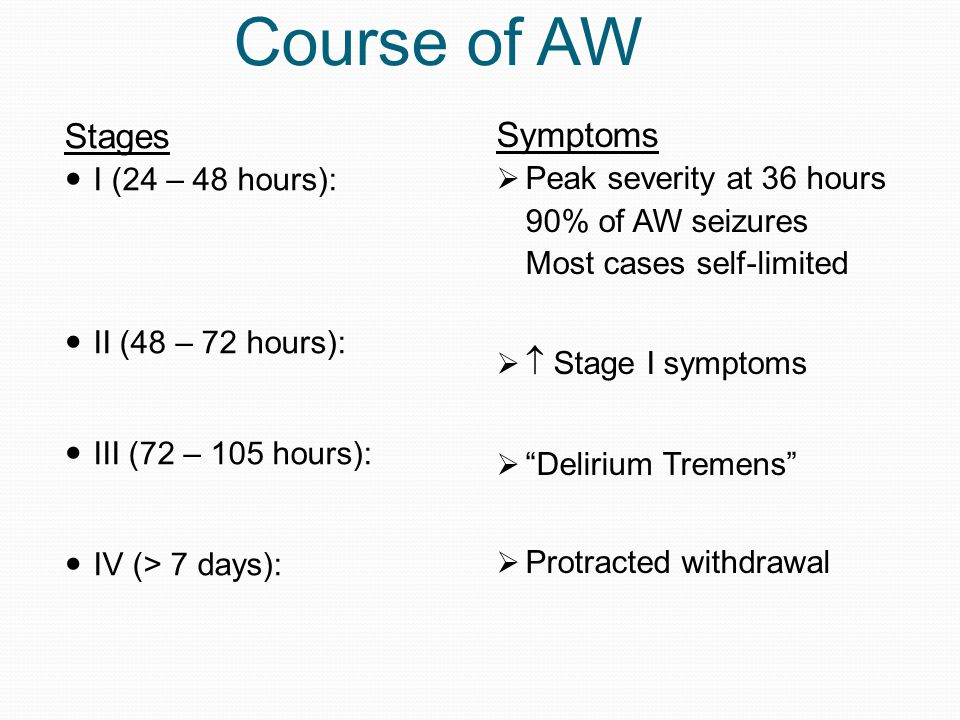 Course of AW Stages Symptoms I (24 – 48 hours):