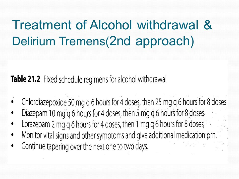 Treatment of Alcohol withdrawal & Delirium Tremens(2nd approach)