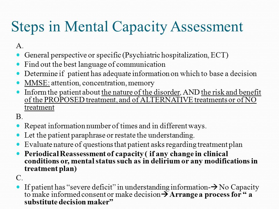 Steps in Mental Capacity Assessment