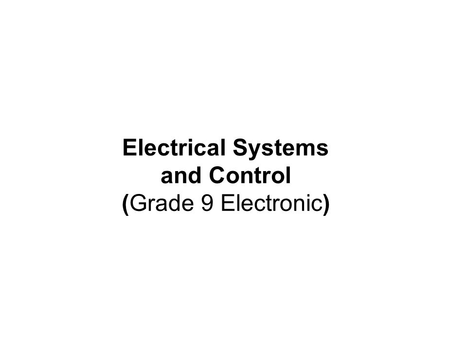Electrical Systems and Control