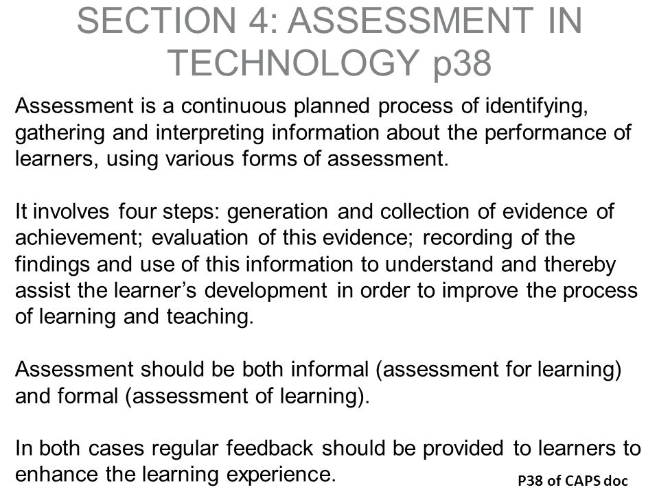 SECTION 4: ASSESSMENT IN TECHNOLOGY p38