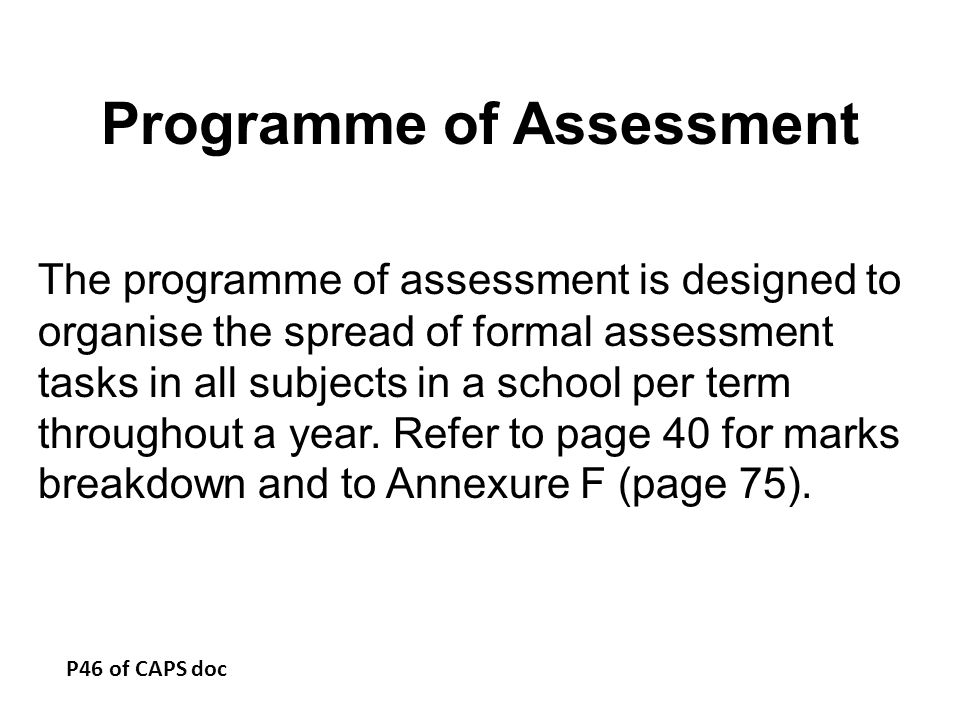 Programme of Assessment