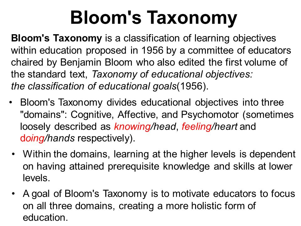 Bloom s Taxonomy Bloom s Taxonomy is a classification of learning objectives