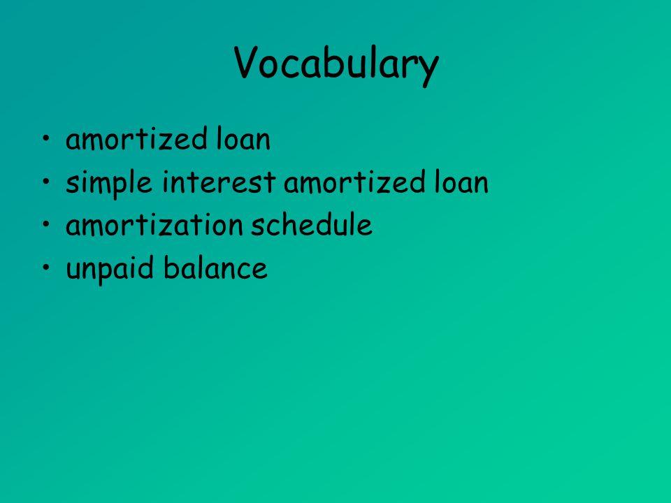 Vocabulary amortized loan simple interest amortized loan