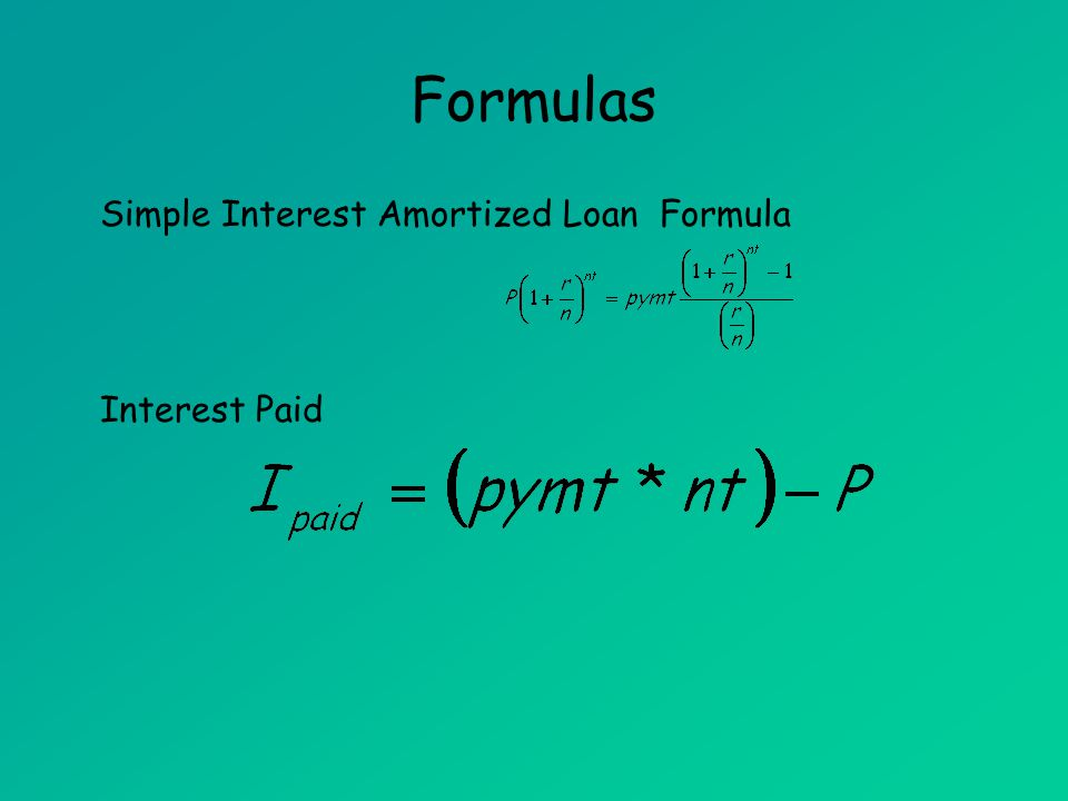 Formulas Simple Interest Amortized Loan Formula Interest Paid