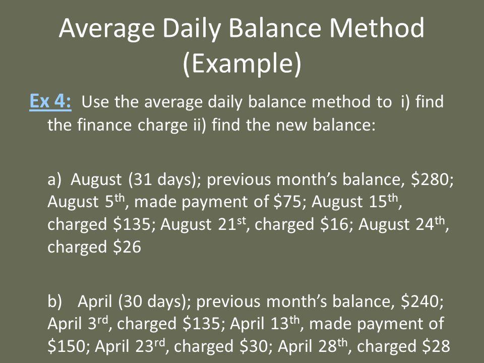 Average Daily Balance Method (Example)