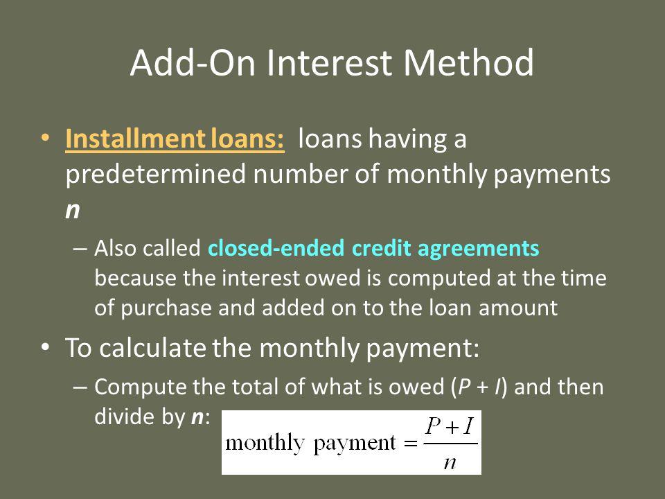Add-On Interest Method