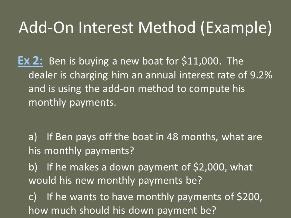 Add-On Interest Method (Example)
