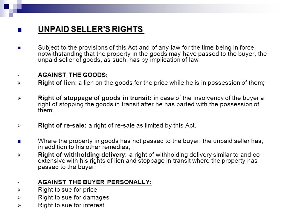 UNPAID SELLER S RIGHTS