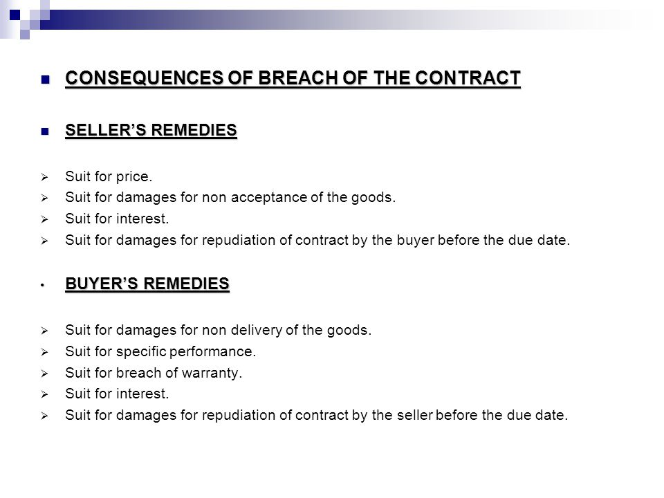 CONSEQUENCES OF BREACH OF THE CONTRACT