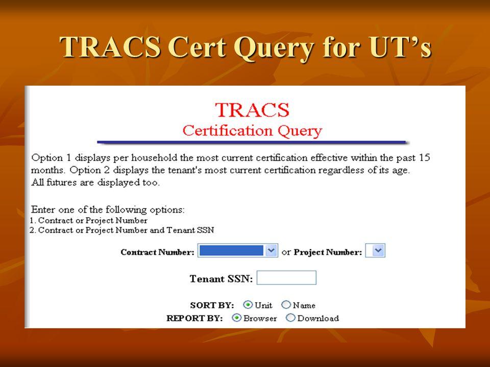 TRACS Cert Query for UT's