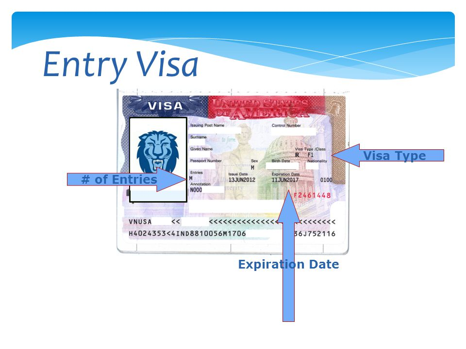 Entry Visa Visa Type # of Entries Expiration Date