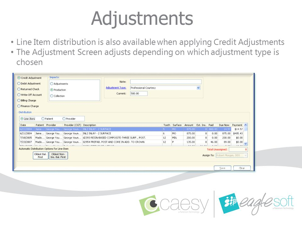 Adjustments Line Item distribution is also available when applying Credit Adjustments.