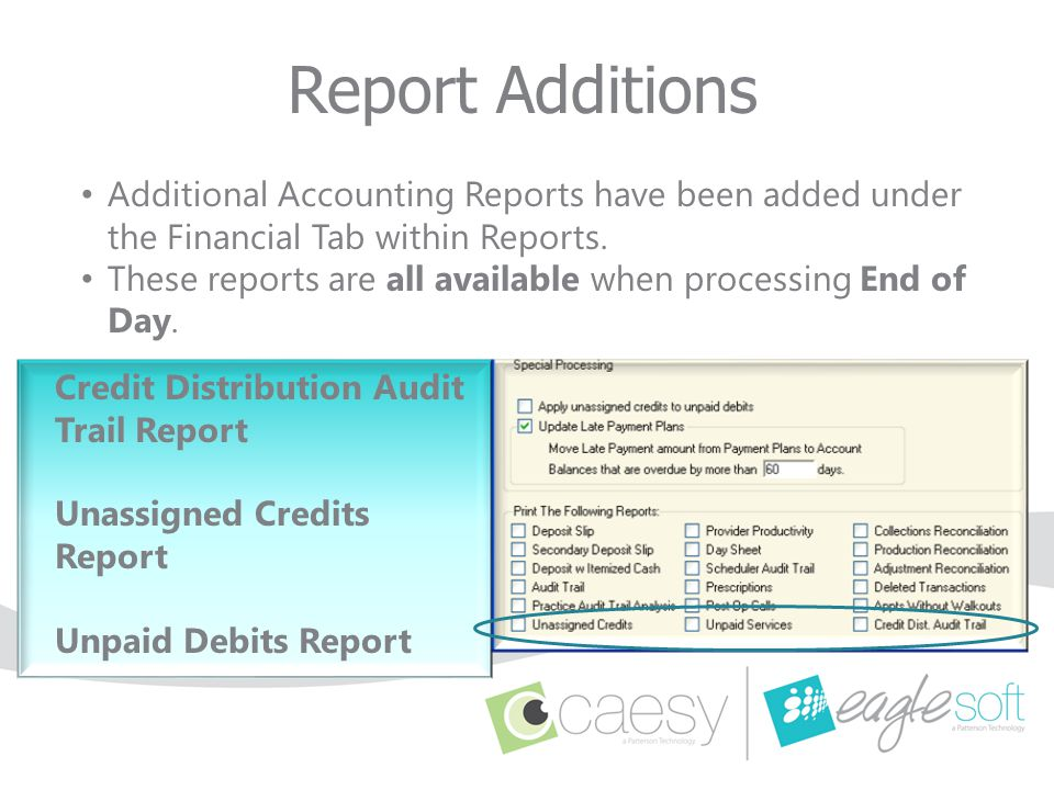 Report Additions Additional Accounting Reports have been added under the Financial Tab within Reports.