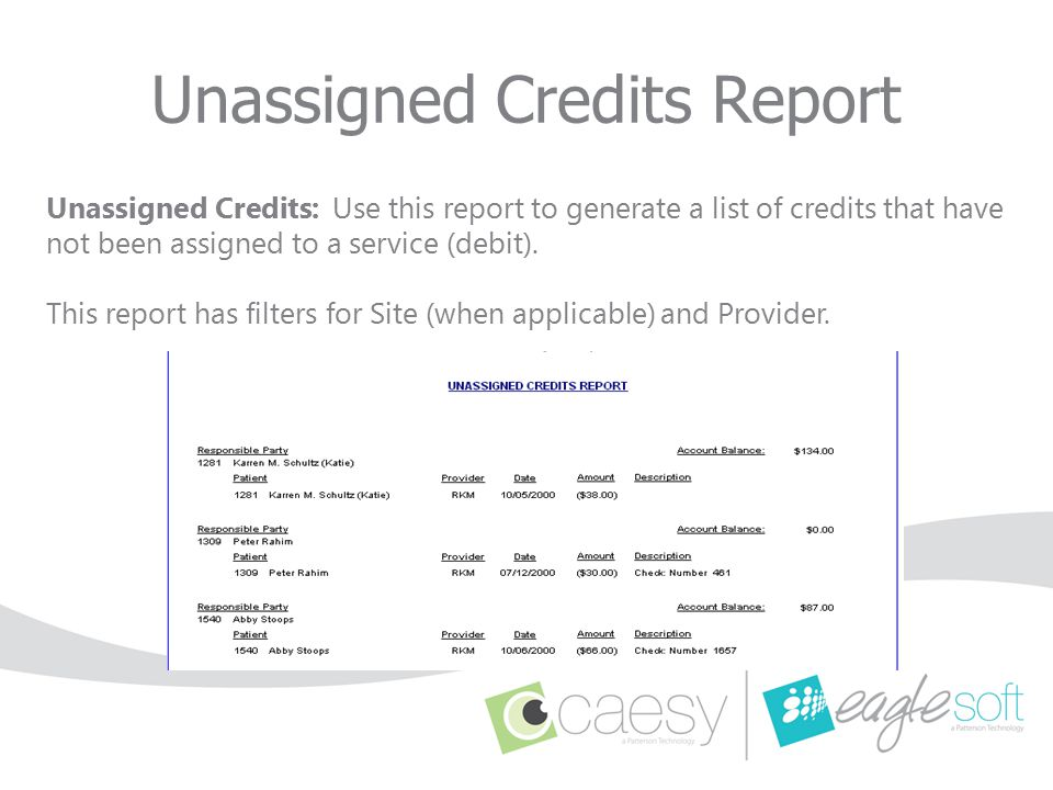 Unassigned Credits Report
