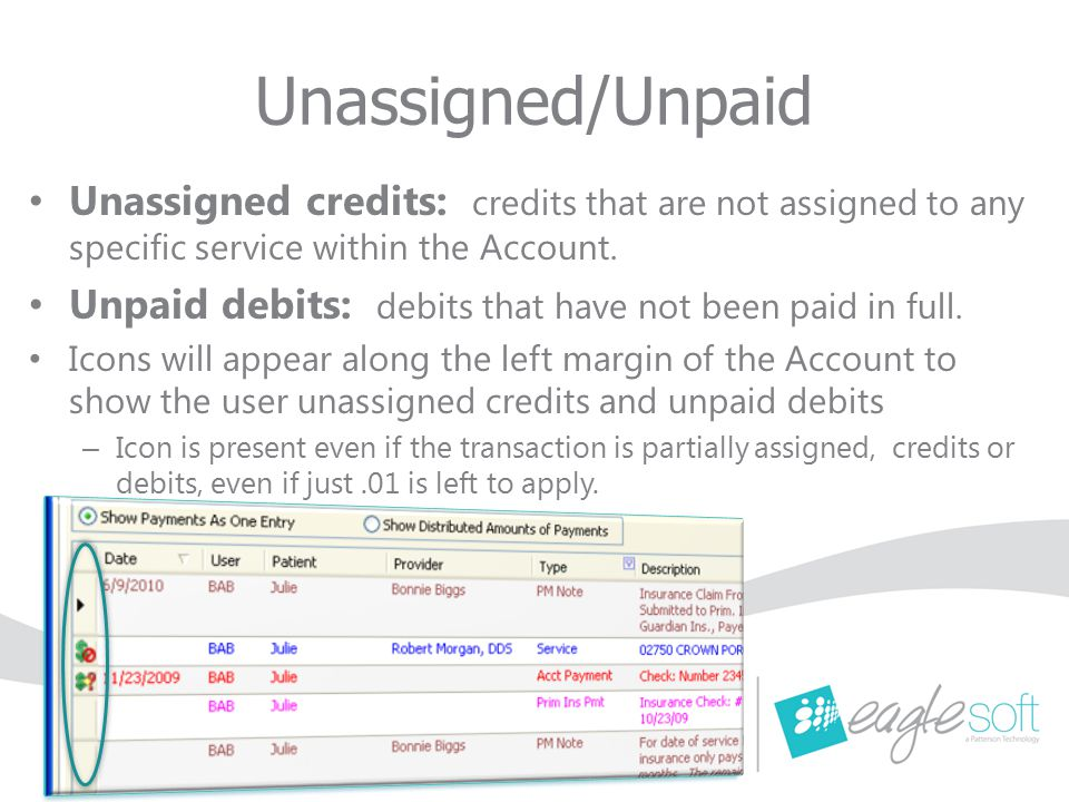 Unassigned/Unpaid Unassigned credits: credits that are not assigned to any specific service within the Account.