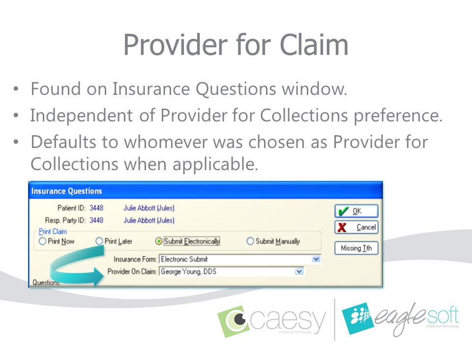 Provider for Claim Found on Insurance Questions window.
