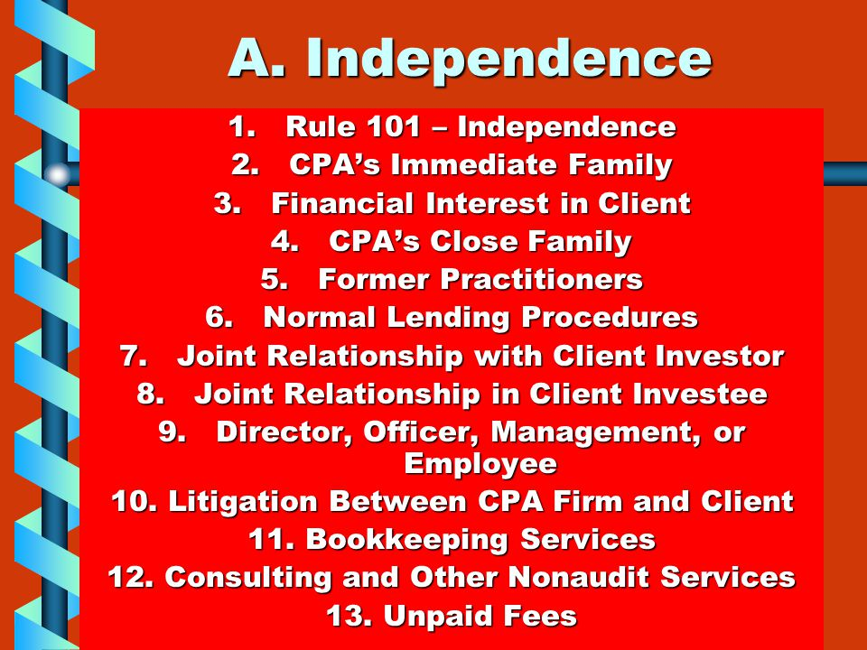 A. Independence Rule 101 – Independence CPA's Immediate Family