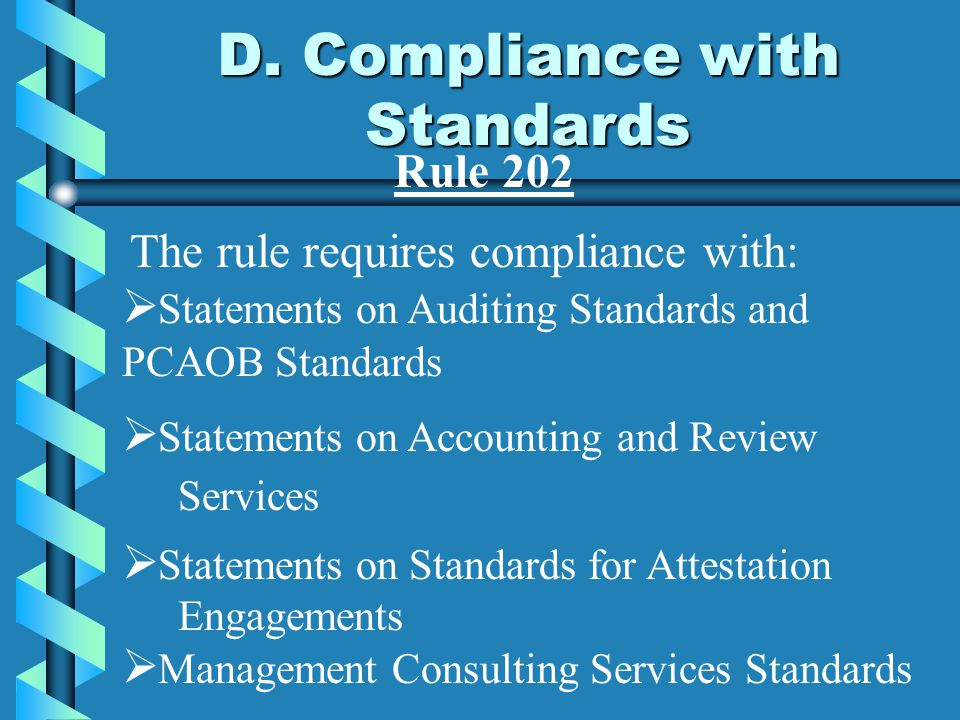 D. Compliance with Standards