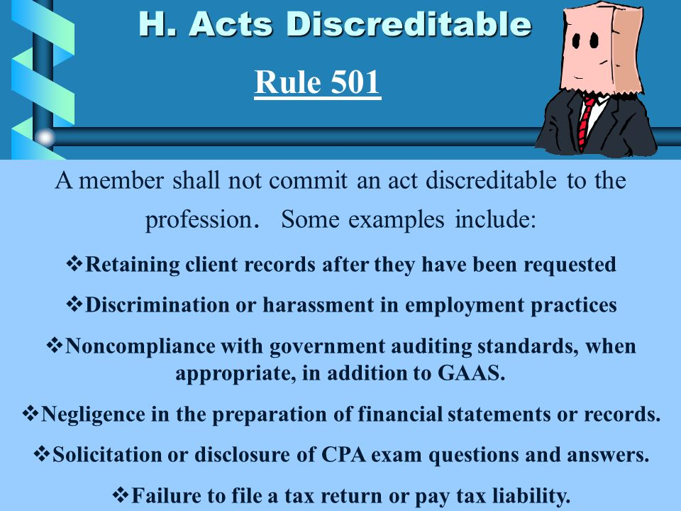 H. Acts Discreditable Rule 501