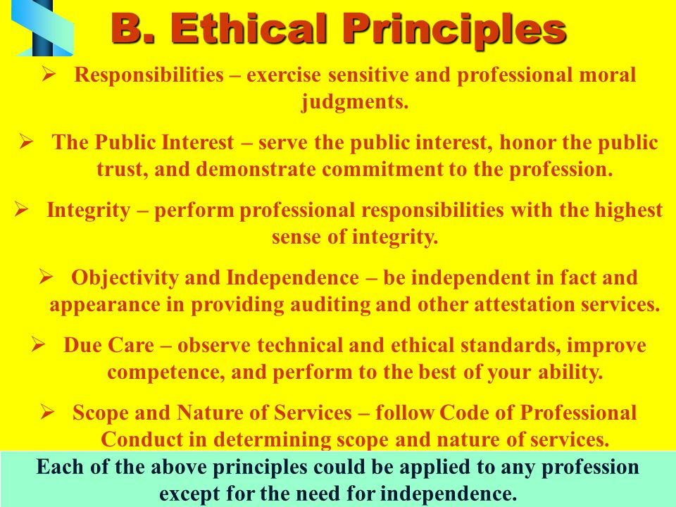 B. Ethical Principles Responsibilities – exercise sensitive and professional moral judgments.