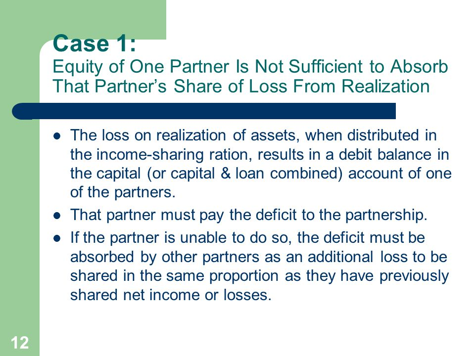 Case 1: Equity of One Partner Is Not Sufficient to Absorb That Partner's Share of Loss From Realization