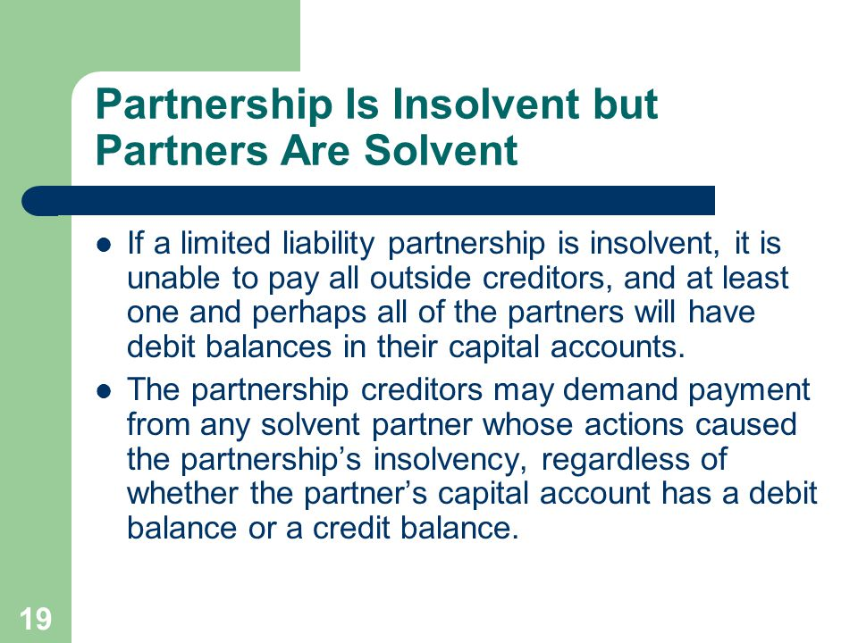 Partnership Is Insolvent but Partners Are Solvent