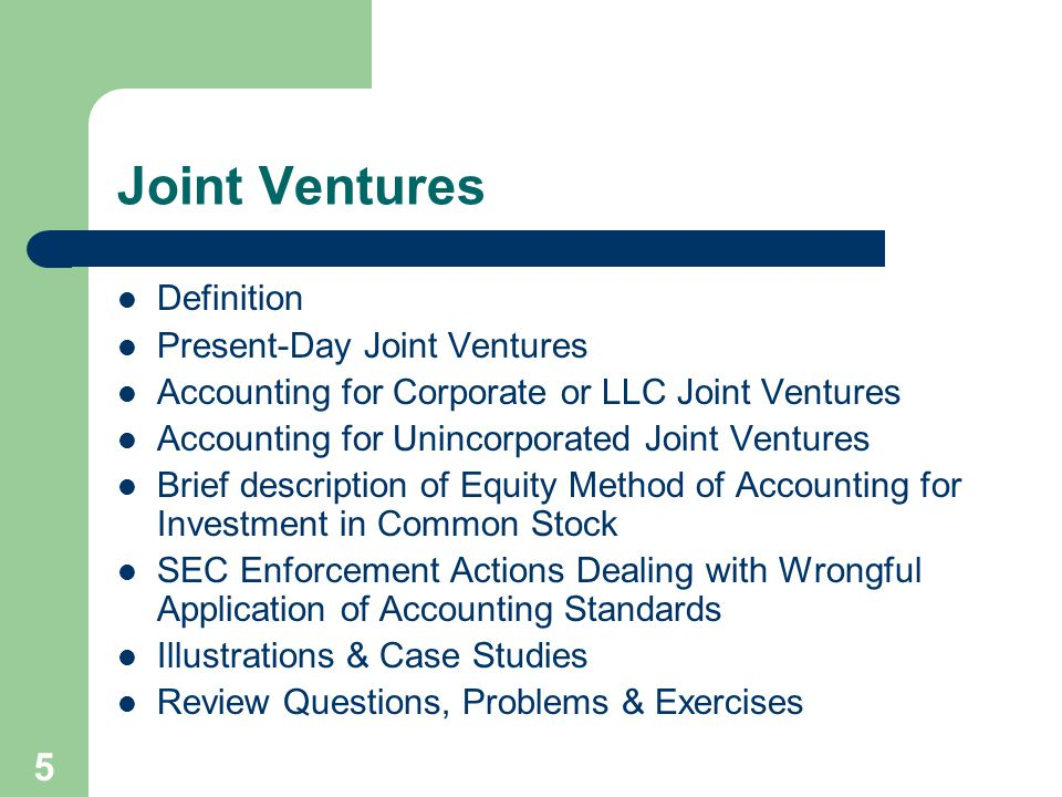 Joint Ventures Definition Present-Day Joint Ventures
