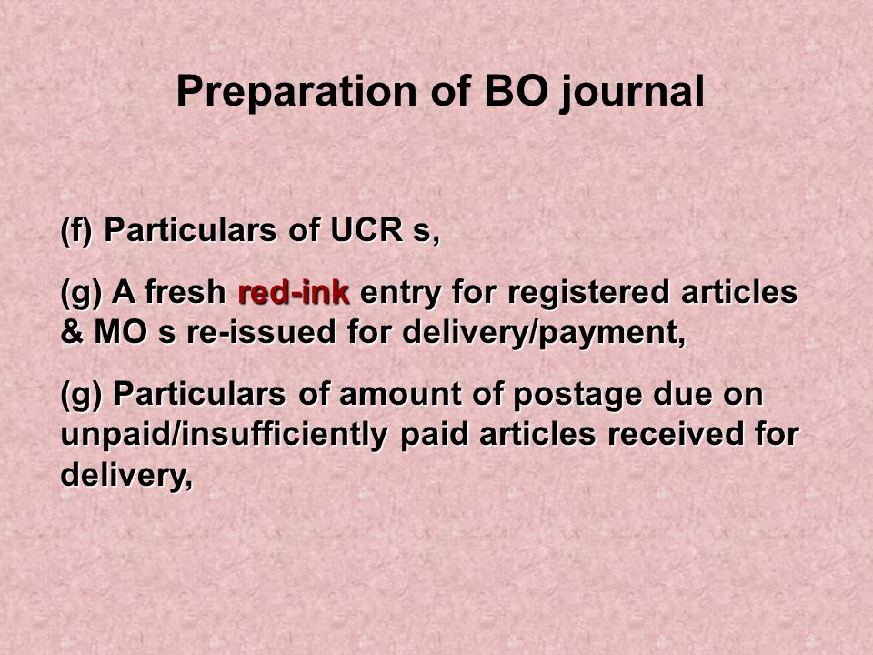 Preparation of BO journal
