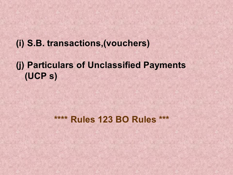 (i) S.B. transactions,(vouchers)