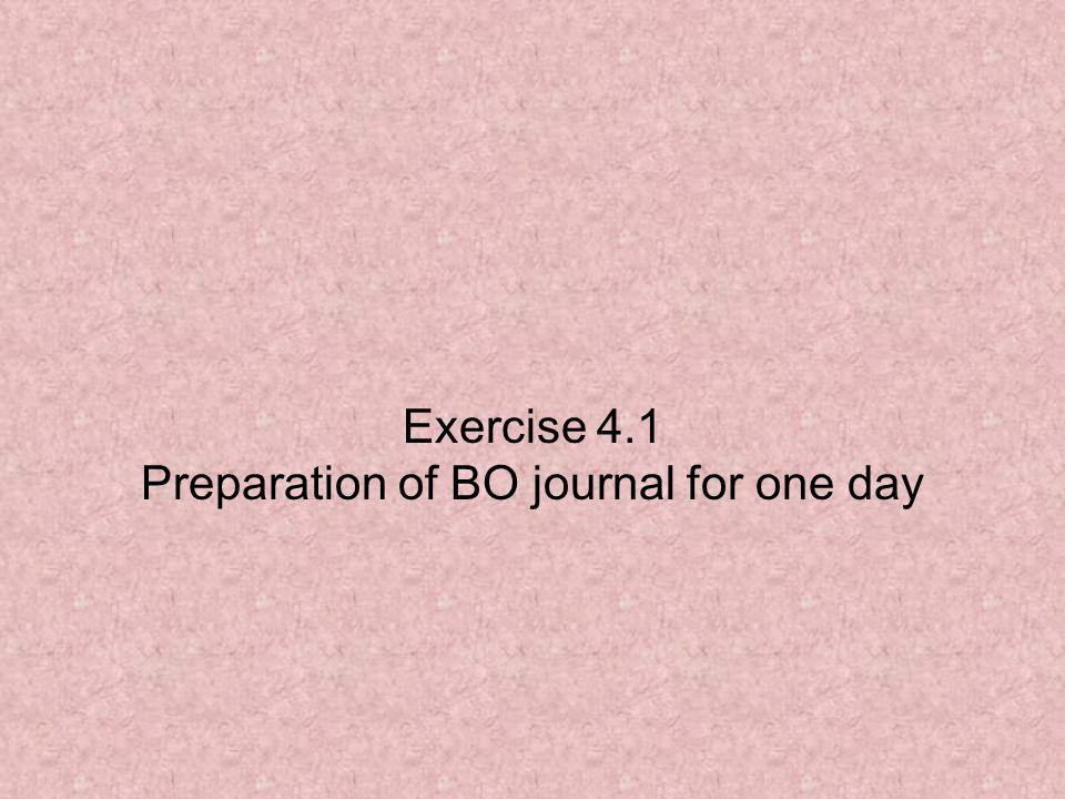 Exercise 4.1 Preparation of BO journal for one day