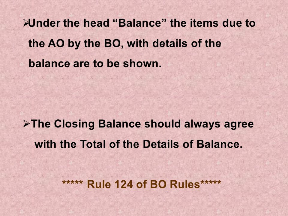 ***** Rule 124 of BO Rules*****