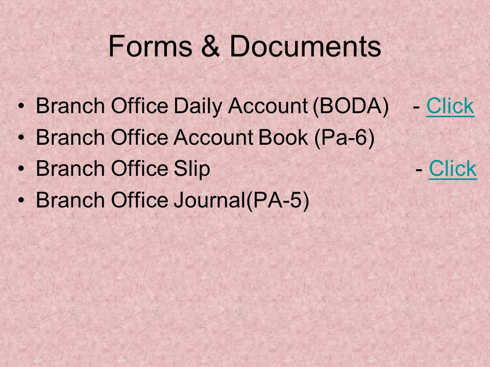 Forms & Documents Branch Office Daily Account (BODA) - Click