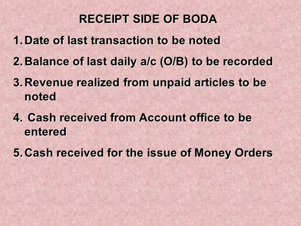RECEIPT SIDE OF BODA Date of last transaction to be noted. Balance of last daily a/c (O/B) to be recorded.
