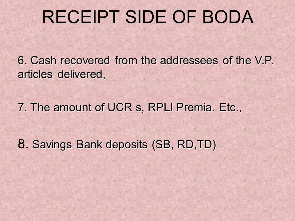 RECEIPT SIDE OF BODA 8. Savings Bank deposits (SB, RD,TD)