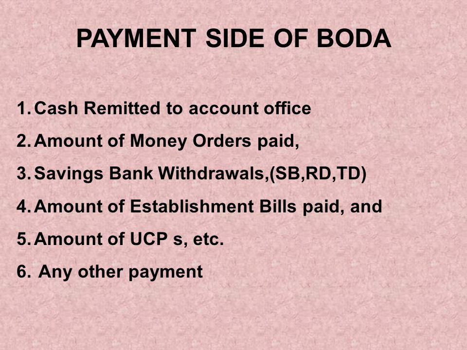 PAYMENT SIDE OF BODA Cash Remitted to account office