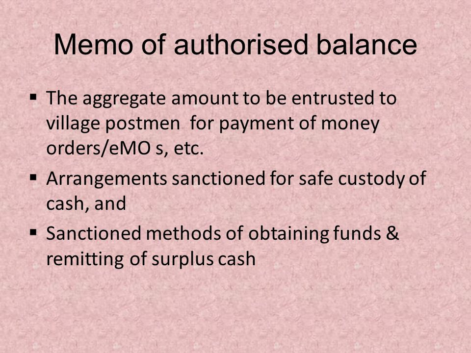 Memo of authorised balance