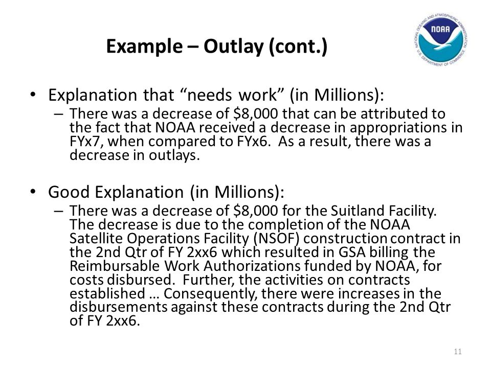 Example – Outlay (cont.)