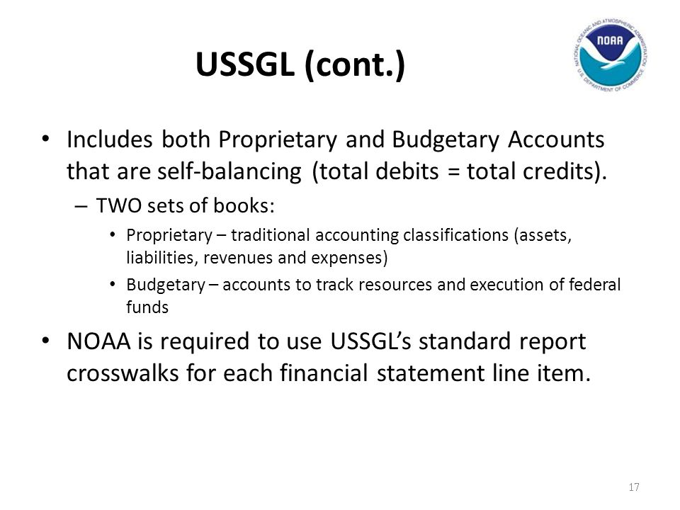 USSGL (cont.) Includes both Proprietary and Budgetary Accounts that are self-balancing (total debits = total credits).