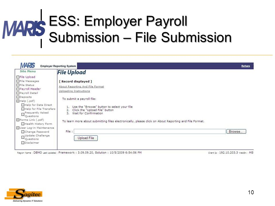 ESS: Employer Payroll Submission – File Submission