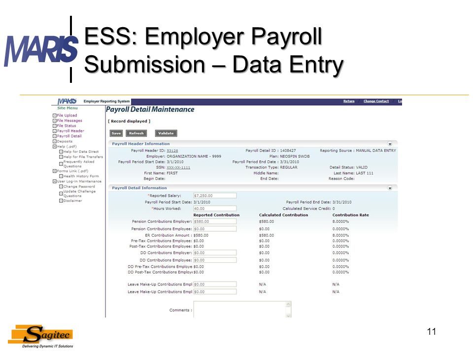 ESS: Employer Payroll Submission – Data Entry