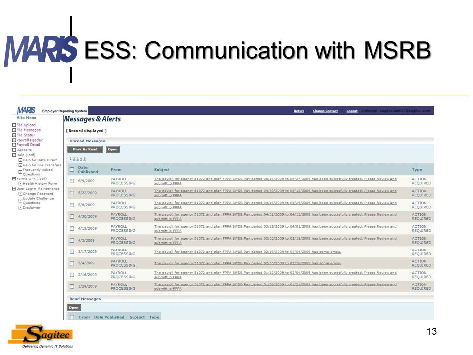 ESS: Communication with MSRB