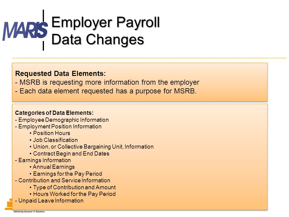 Employer Payroll Data Changes