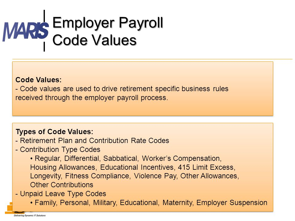 Employer Payroll Code Values