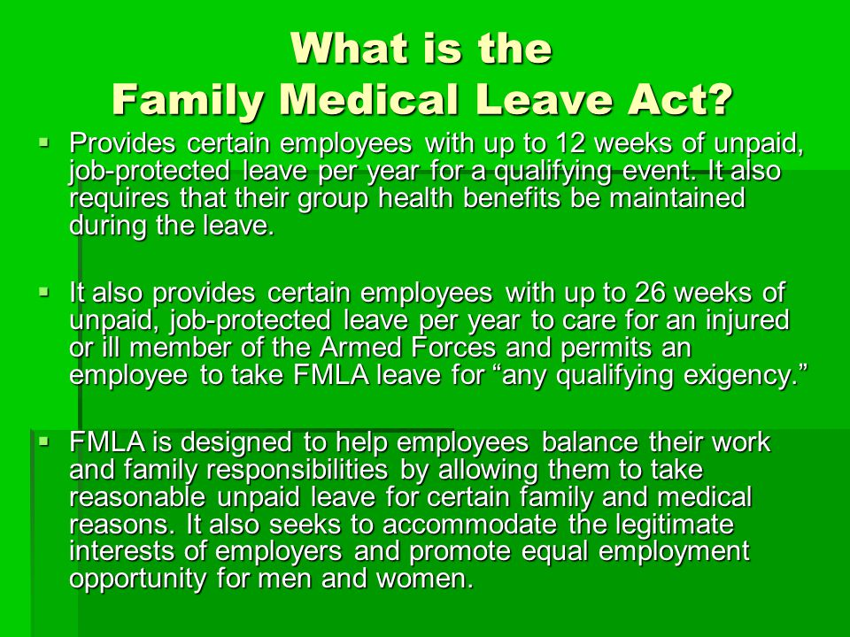 What is the Family Medical Leave Act